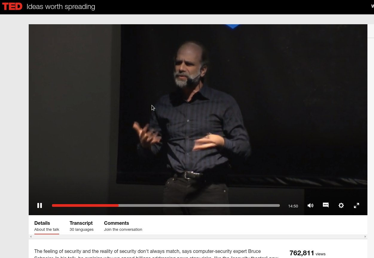 Bruce Schneier on feeling secure